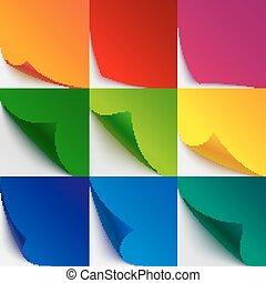 set, van, negen, kleurrijke, papier, gekrulde, hoeken, en, pagina, draaien, met, realistisch, schaduwen, op wit, achtergrond