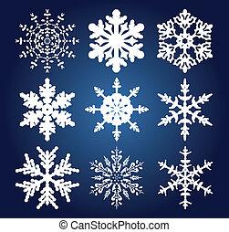 set, van, negen, snowflakes