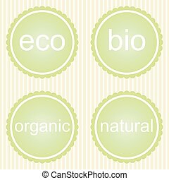 set, van, organisch, etiketten