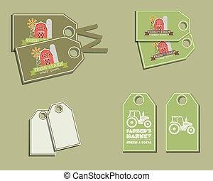 set, van, organisch, etiketten, -, stickers, voor, natuurlijke , boerderij, products., ecologie, theme., groene, eco, design., vector