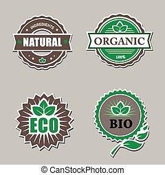 set, van, organisch, etiketten, -, stickers, voor, natuurlijke , products.