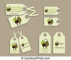 set, van, organisch, etiketten, voor, natuurlijke , products.