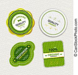 set, van, organisch voedsel, kentekens, en, etiketten