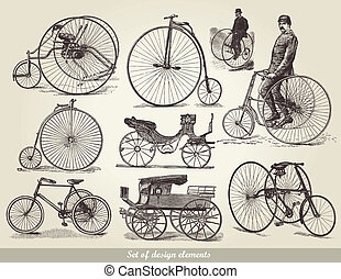 set, van, oud, bicycles
