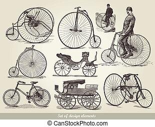 set, van, oud, bicycles