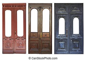 set, van, oud, deuren