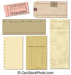 set, van, oud, papier, voorwerpen, -, voor, ontwerp, en,...