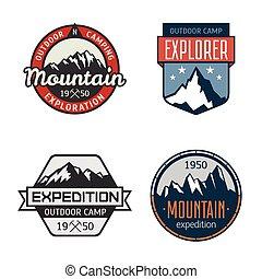 set, van, ouderwetse , berg, buiten, etiketten