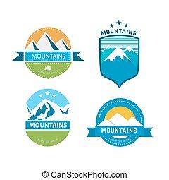 set, van, ouderwetse , bergen