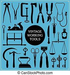 set, van, ouderwetse , gereedschap, instrumenten
