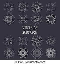 set, van, ouderwetse , handdrawn, sunbursts, vector