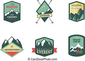 set, van, ouderwetse , hout, kamp, kentekens, en, reizen, logo, emblems