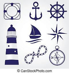 set, van, ouderwetse , nautisch, etiketten, iconen, en,...