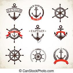 set, van, ouderwetse , nautisch, iconen, en, symbolen