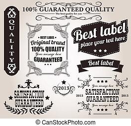 set, van, ouderwetse , retro, etiketten