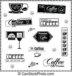 set, van, ouderwetse , retro, koffie, etiketten