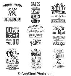 set, van, ouderwetse , zakelijk, motivatie, typografisch, quotes., grunge, effect, groenteblik, zijn, edited, of, removed.