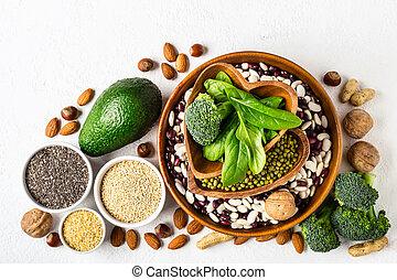 set, van, plantaardige proteïne, sources., gezond dieet, concept