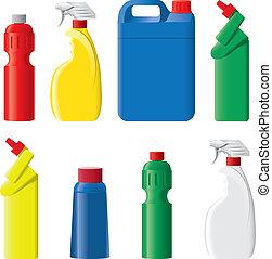set, van, plastic, wasmiddel, flessen