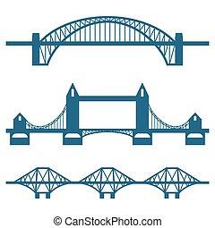 set, van, plat, brug, iconen, vrijstaand, op wit