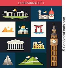 set, van, plat, ontwerp, beroemd, wereld, bekende & bijzondere plaatsen, iconen