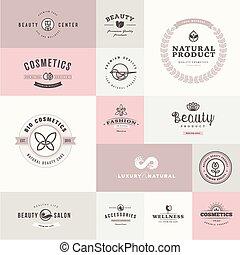 set, van, plat, ontwerp, iconen, voor, beauty