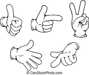 set, van, positief, handen, gebaren