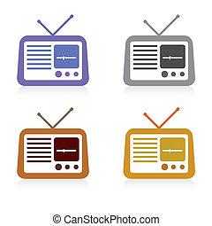 set, van, radio, pictogram, vector