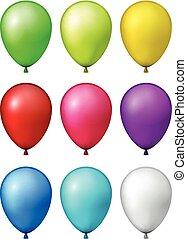 set, van, realistisch, kleurrijke, balloons.
