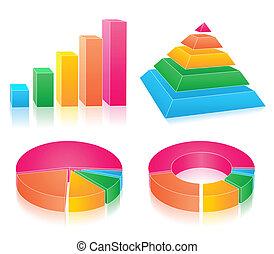 set, van, regenboog, diagrammen