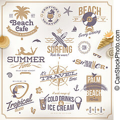 set, van, reizen, en, vakantie, emblems