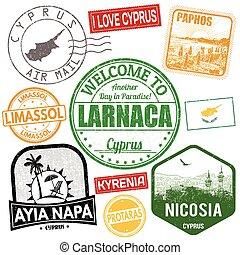 set, van, reizen, grunge, postzegels, met, cyprus