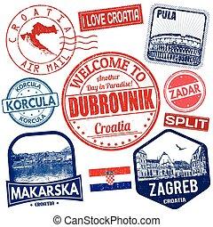 set, van, reizen, grunge, postzegels, met, kroatië