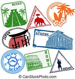 set, van, reizen, postzegels
