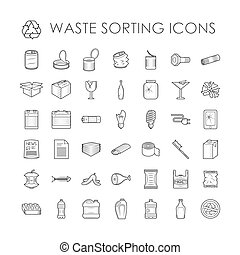 set, van, restafval, scheiding, recycling, verwant, afval,...