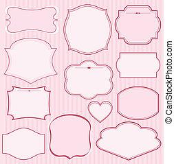 set, van, roze, vector, lijstjes