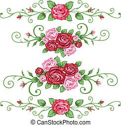 set, van, rozen, banieren