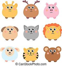 set, van, schattig, dieren, afgerond, vorm., ronde, animals., vector, illustratie