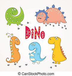 set, van, schattig, dinosaurussen