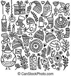 set, van, schattig, hand-drawn, kerstmis, communie