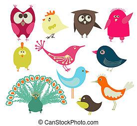 set, van, schattig, vogels