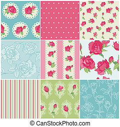 set, van, seamless, floral, roos, achtergronden, -, in,...