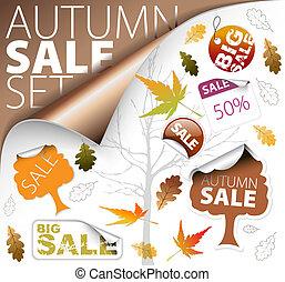set, van, seizoen, (fall), kaartjes, en, verkoop, etiketten