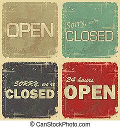set, van, signs:, open, -, gesloten, -, 24 uur