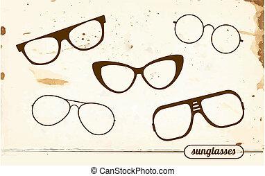 set, van, silhouettes, van, ouderwetse , zonnebrillen