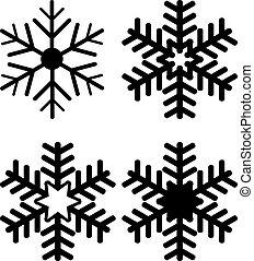 set, van, sneeuwvlok, silhouettes