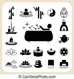 set, van, spa, en, masseren, iconen