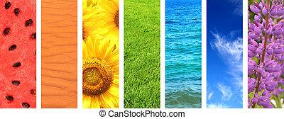 set, van, spandoek, met, natuur, communie, van, regenboog kleurt