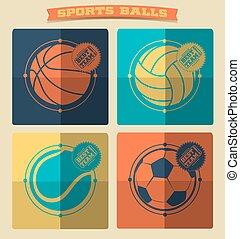 set, van, sporten, balls.
