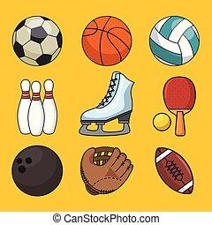 set, van, sporten, pictogram